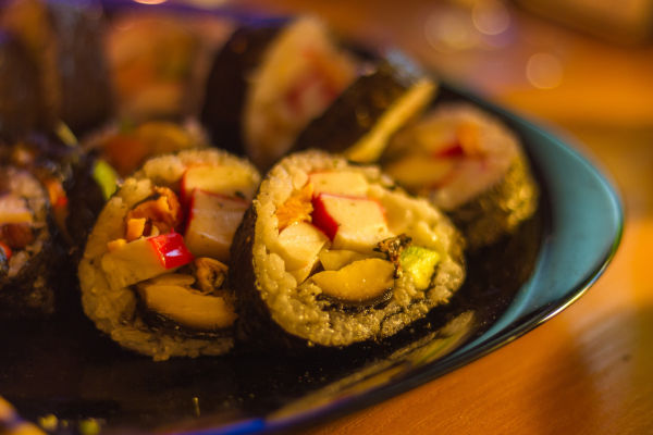 Nori wrapped sushi.