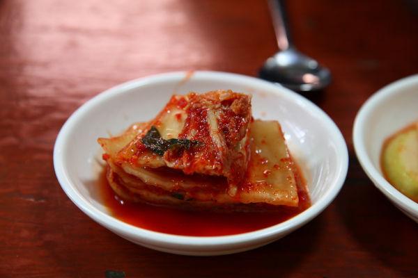 A dish of kimchi.
